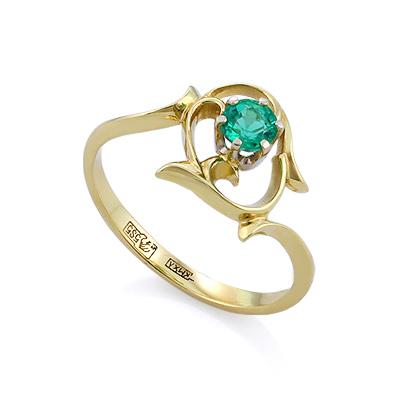 Кольцо с изумрудом из желтого золота цена - 29100 рублей