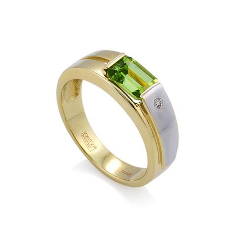 Мужской перстень с хризолитом. Кольцо с хризолитом и бриллиантом цена - 18500 рублей. 1000 мелочей
