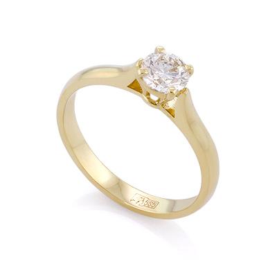 Золотое кольцо с бриллиантом 0,5 карата цена - 145000 рублей