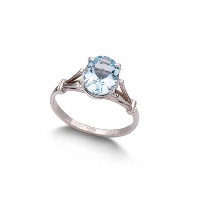 Кольцо с аквамарином белое золото 2.35 г SL-0265-235
