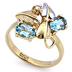 Кольцо с аквамаринами и бриллиантом из желтого золота SL-190AQ весом 3.5 г  стоимостью 39700 р.
